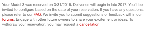 Your Model 3 Was Reserved on 3:31:2016