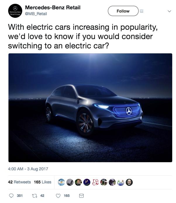 Mercedes-Benz Retail Tweet with numbers
