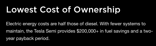 Tesla Semi Lowest cost of ownership