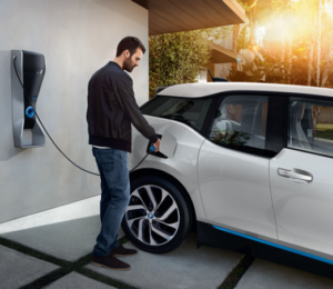 BMW i3 with man charging - V2G