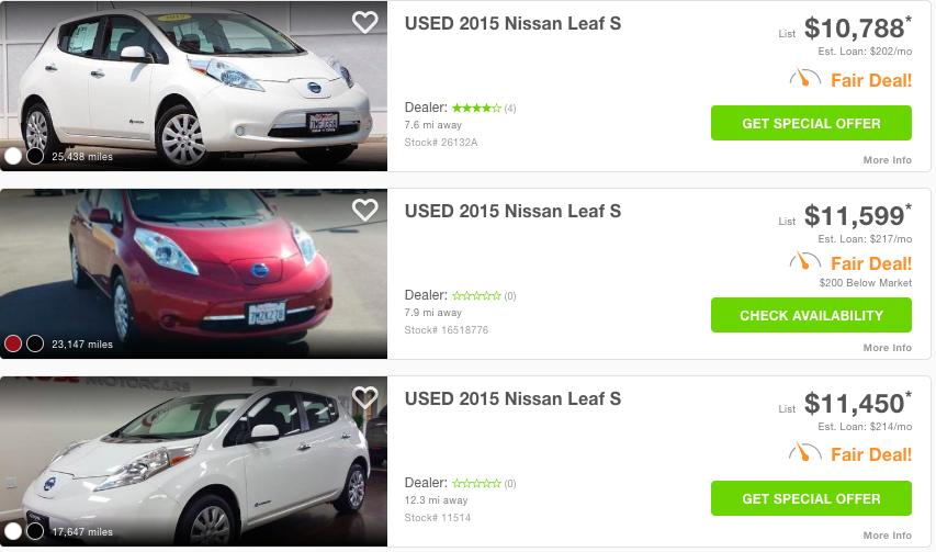 2015 Nissan LEAF - sample used model prices - Edmunds