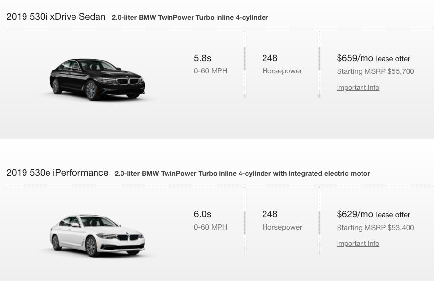 BMW 530e versus 530i