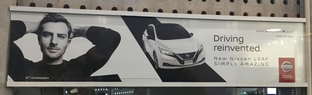 Nissan LEAF billboard Mexico City airport - in English