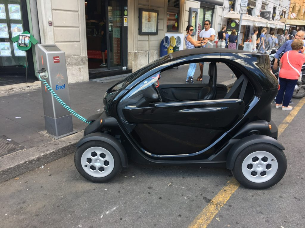 Twizy charging in Rome Enel charging station