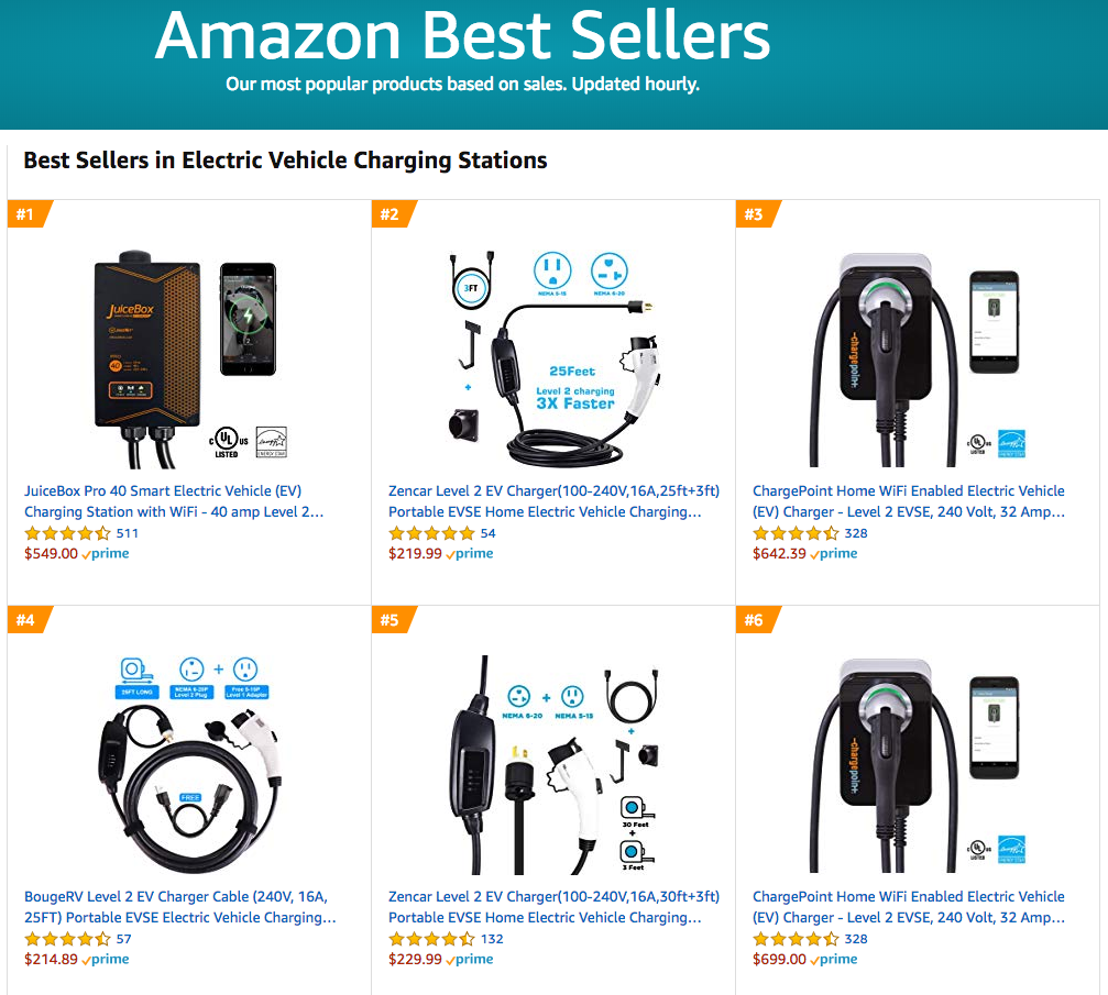 Amazon best sellers EV charging stations