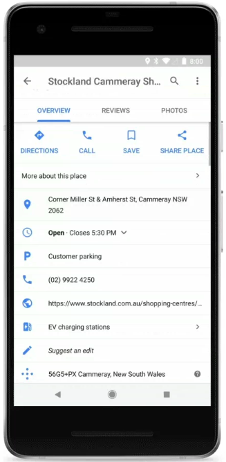 Google Maps EV charging stations Stockland Cammeray Shopping Center