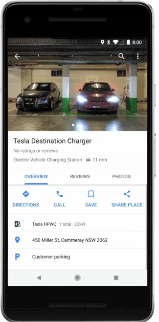 Google Maps Tesla Destination charger