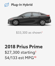 Toyota Prius Prime staring and as shown price
