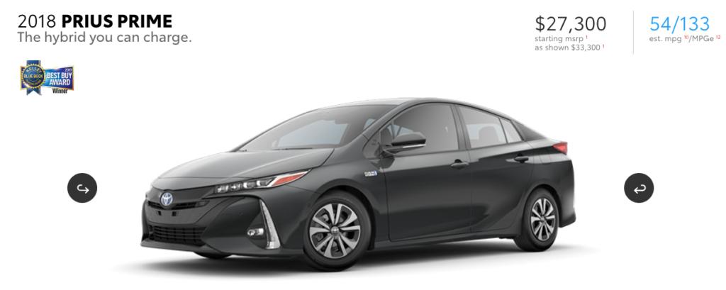 Toyota Prius Prime web site