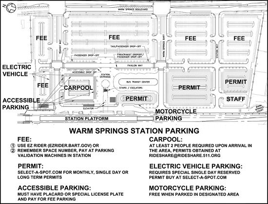 BART Warm Springs Parking Map