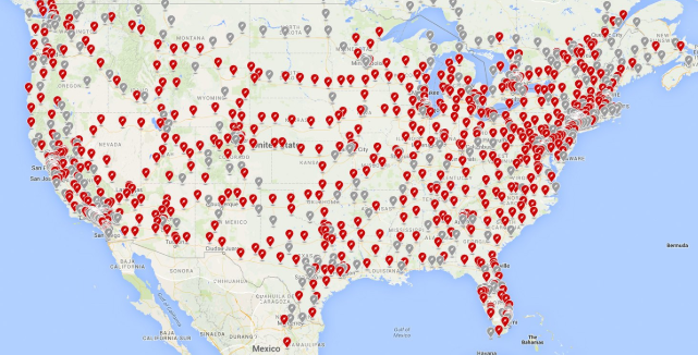US Tesla Supercharger map- March 24 2019