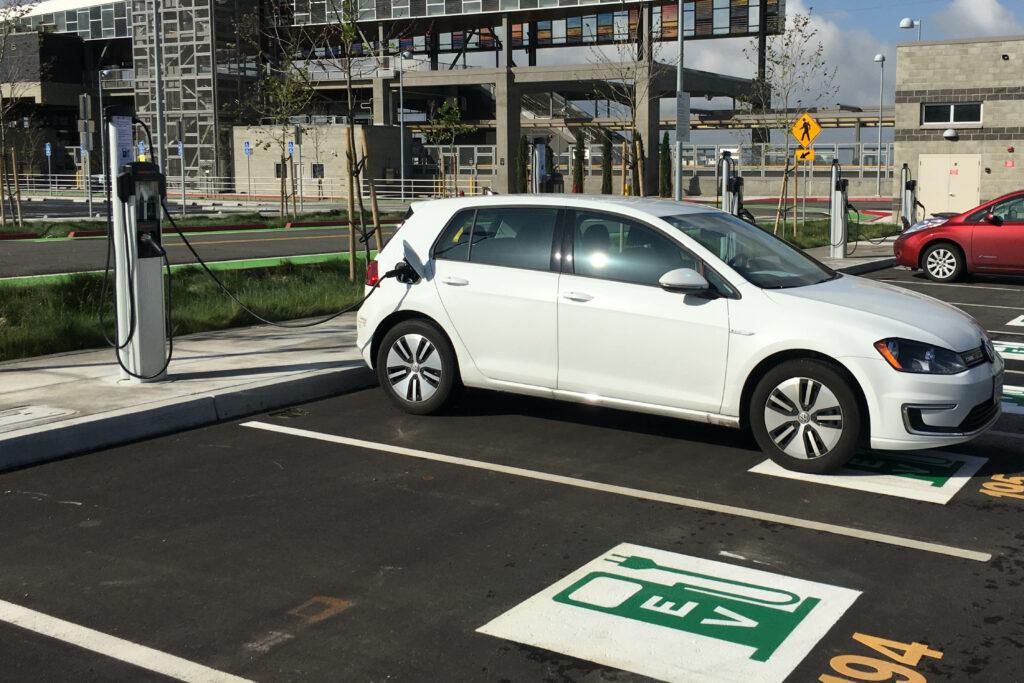 VW eGolf charging at Fremont Warm Springs Station-BART