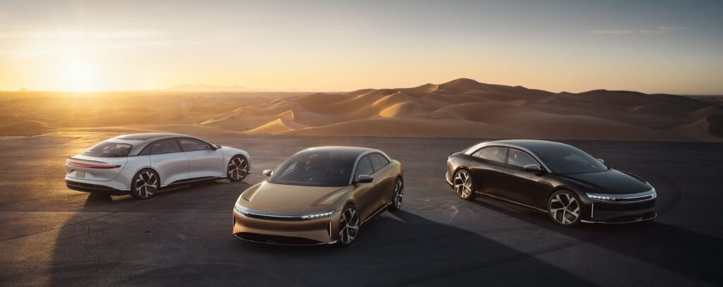 Lucid Air - 3 models with sunset