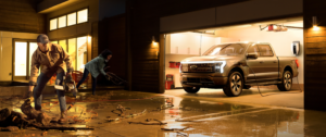 Ford F-150 Lighting - powering chain saw after storm