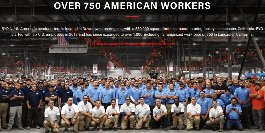 BYD Bus US Factory workers