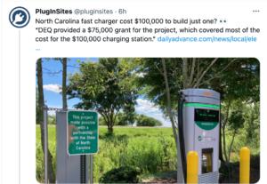 DCFC Cost via Plug-in Sites-North Carolina